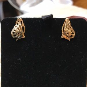 Avon Gold Butterfly Stud Earrings